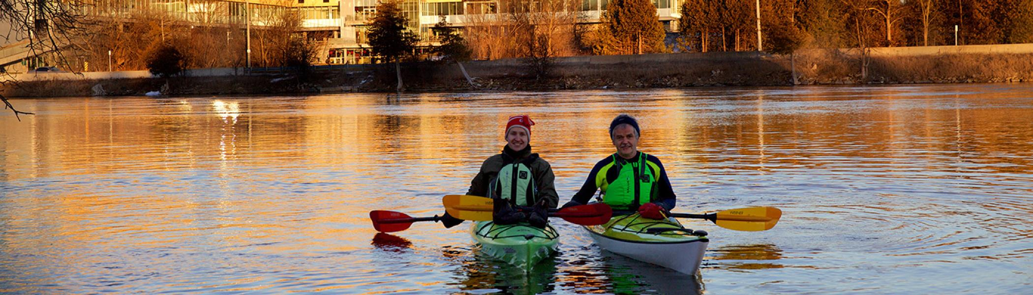 President Groarke kayaking on the Otonabee with colleague in February