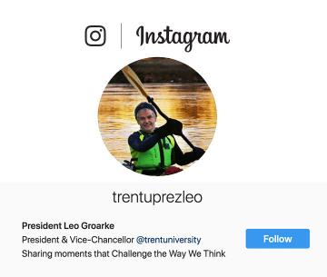 Follow President Groarke on Instagram