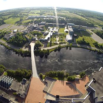 Aerial shot of Symons Campus