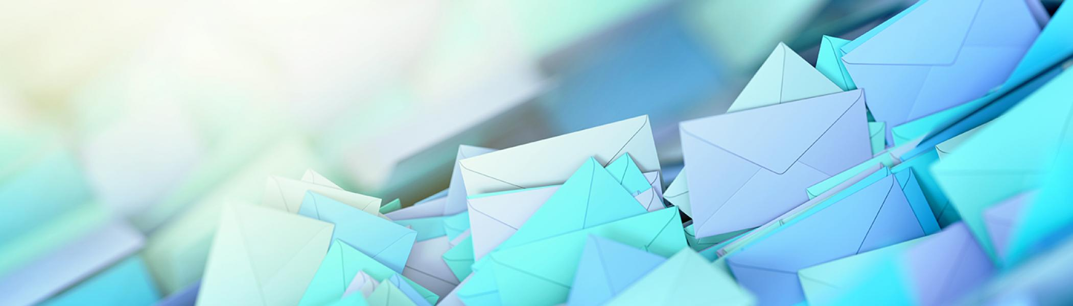 Many animated envelopes