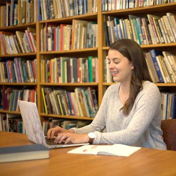 Student taking a course online.