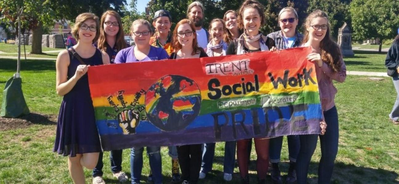Group of Social Work students at Pride parade