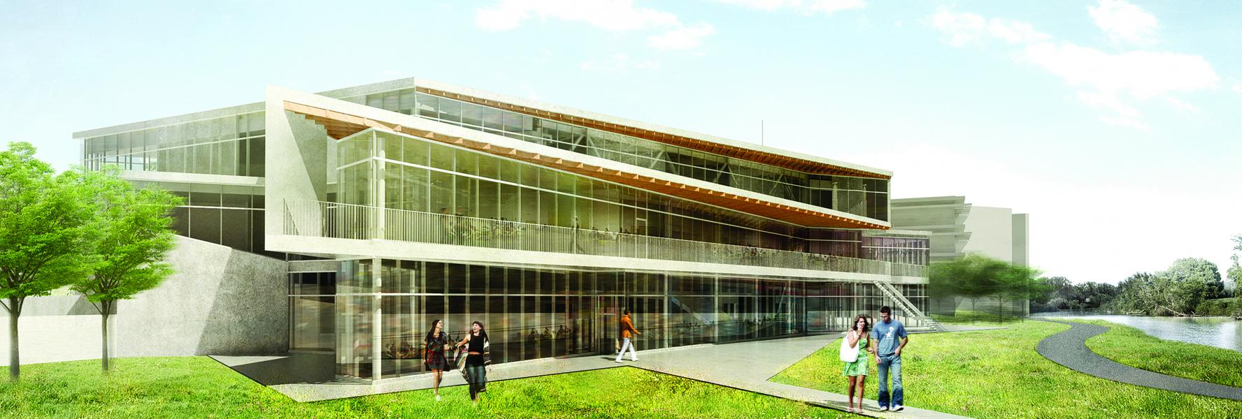 Exterior rendering of the student centre