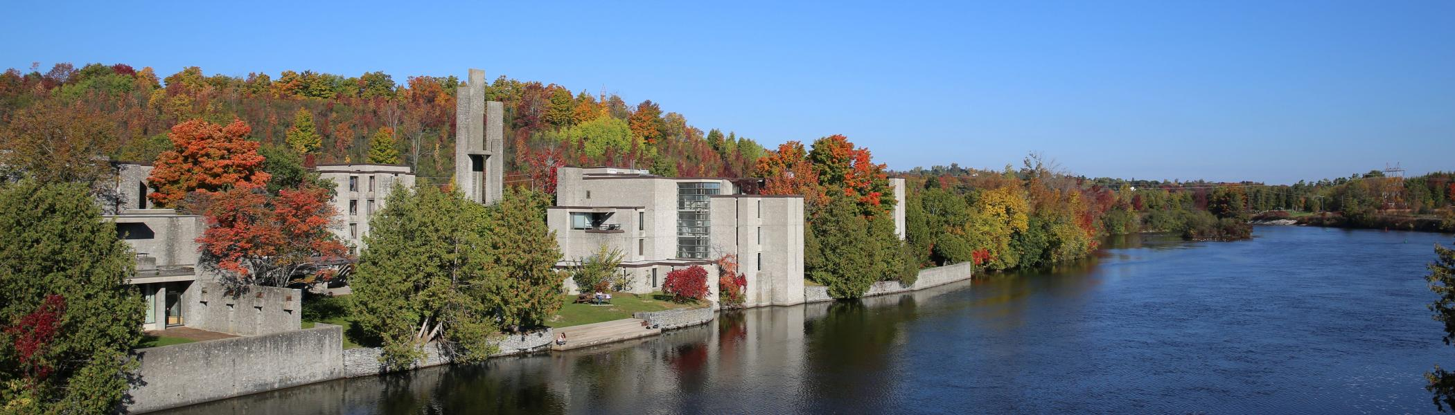 View of Champlain College and the Otonabee river