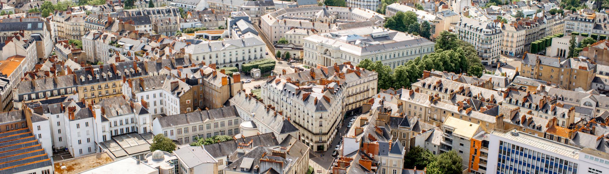 An aerial view of buildings in Nantes, France