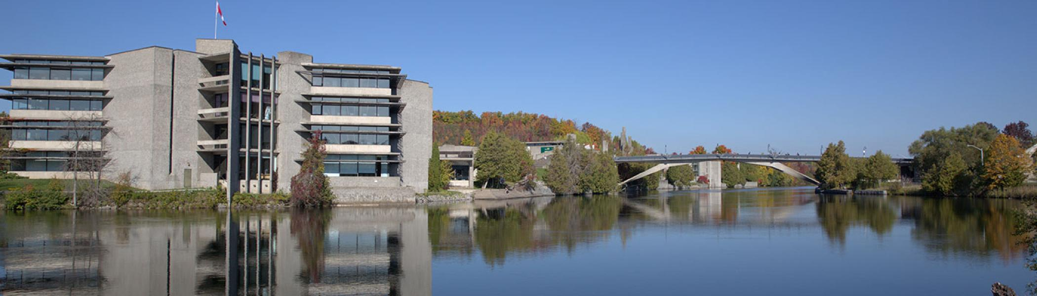 Shot of Trent's Bata Library from across the Otonabee river