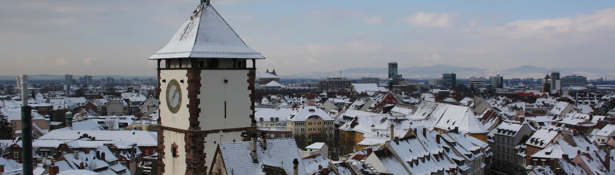A view from the top of a tower in Germany in the winter.