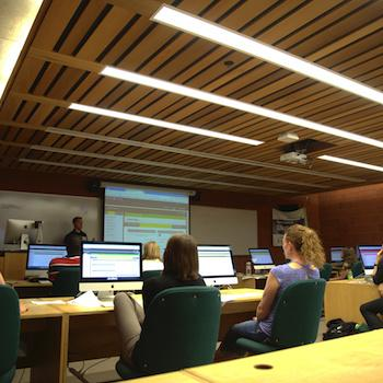 A classroom in Bata Library with an instructor leading students on computers