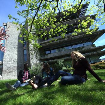 Three students sitting outside on the grass in front of Bata Library smiling