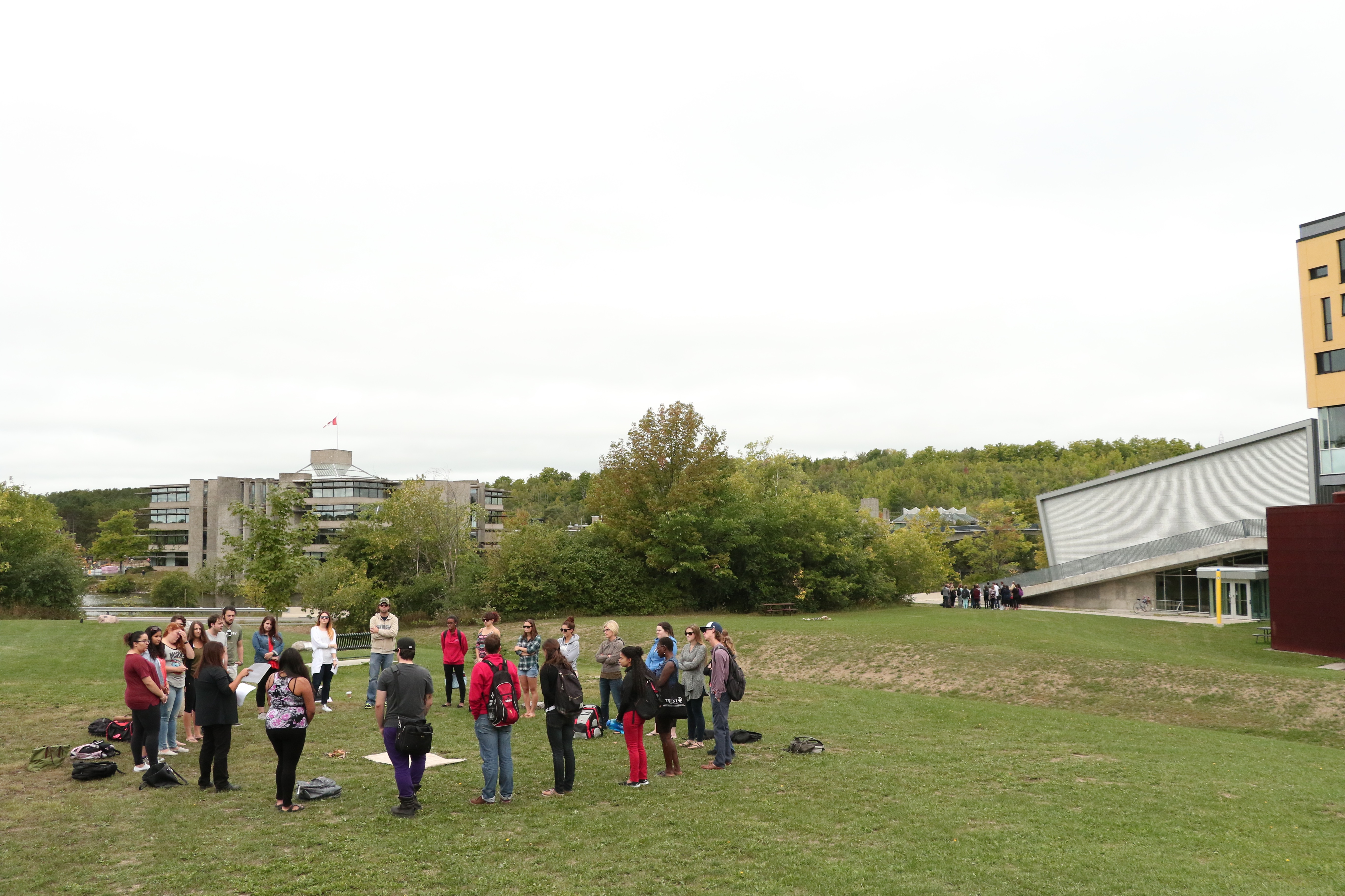students gathering for discussion outside of Gzowski college