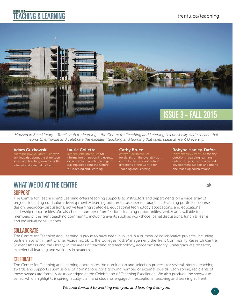 Image of CTL Newsletter for the fall of 2015, image of Bata Library on the Otonabee River
