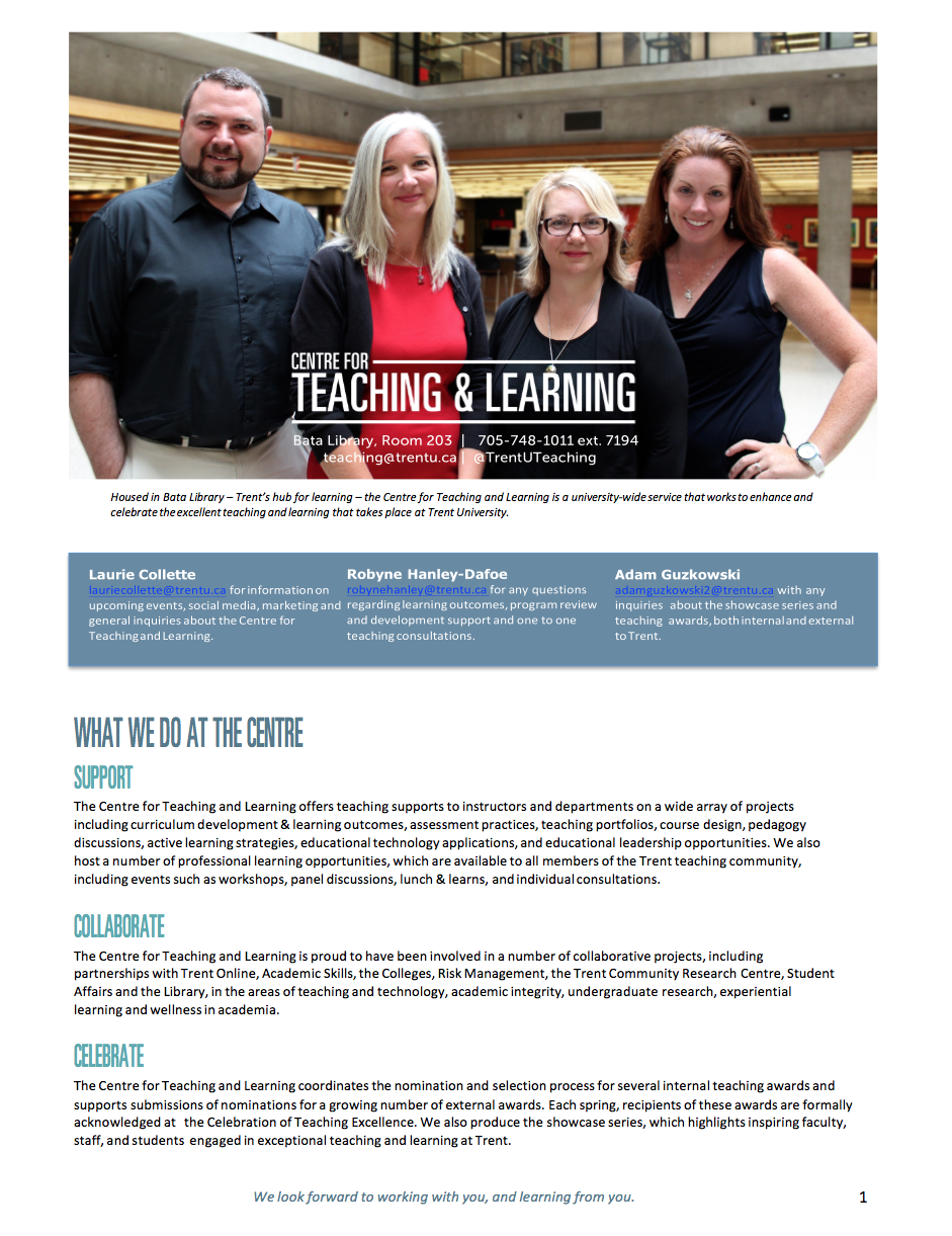 Image of CTL Newsletter summer of 2015; image of team standing inside Bata Library with information about what the centre does.
