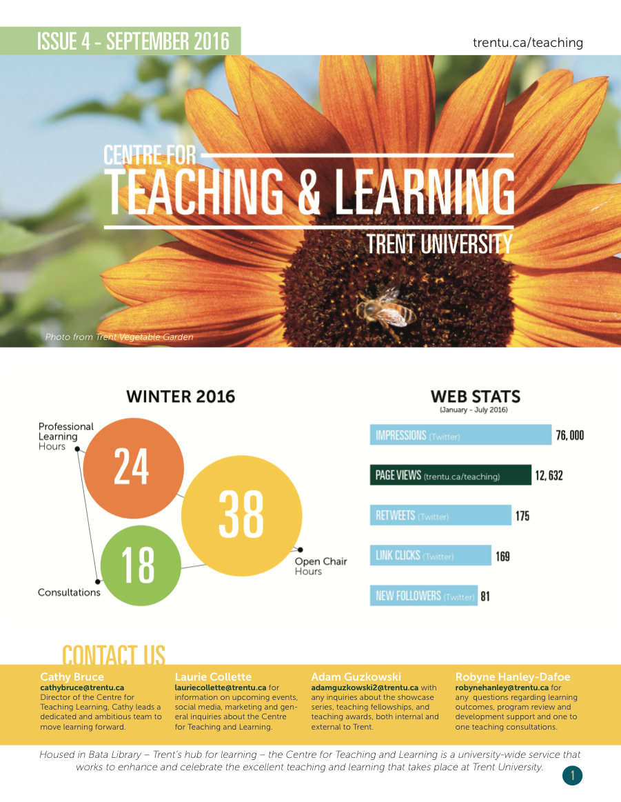 Image of CTL Newsletter for September 2016; image of sunflower with a bee on it along with statistical graphics