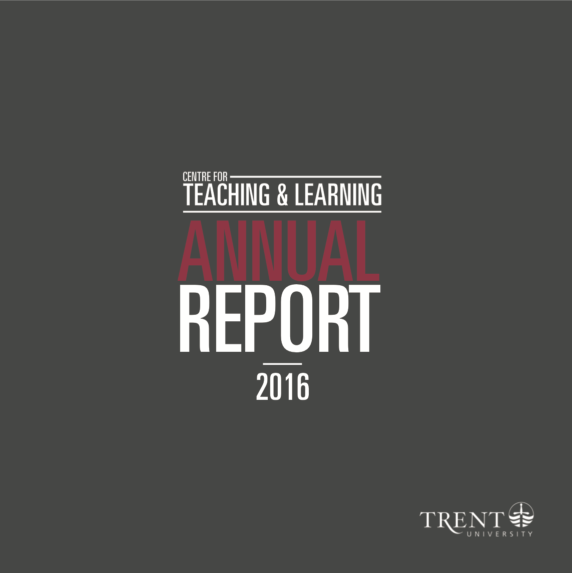 Image of cover for the 2016 Annual Report, dark grey background with white and red lettering