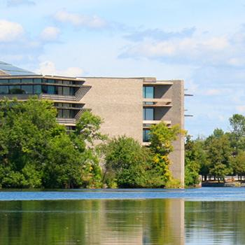 A photo of Trent University's Bata Library on a sunny day.