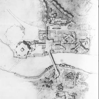Drawing of campus from original master plan