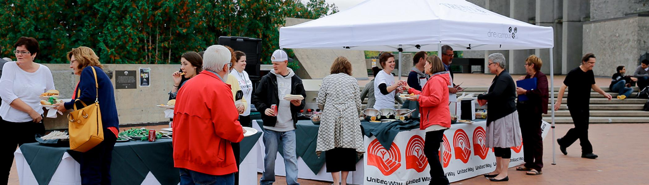 United way is raising money at Trent University through BBQ fundraisers on a sunny day
