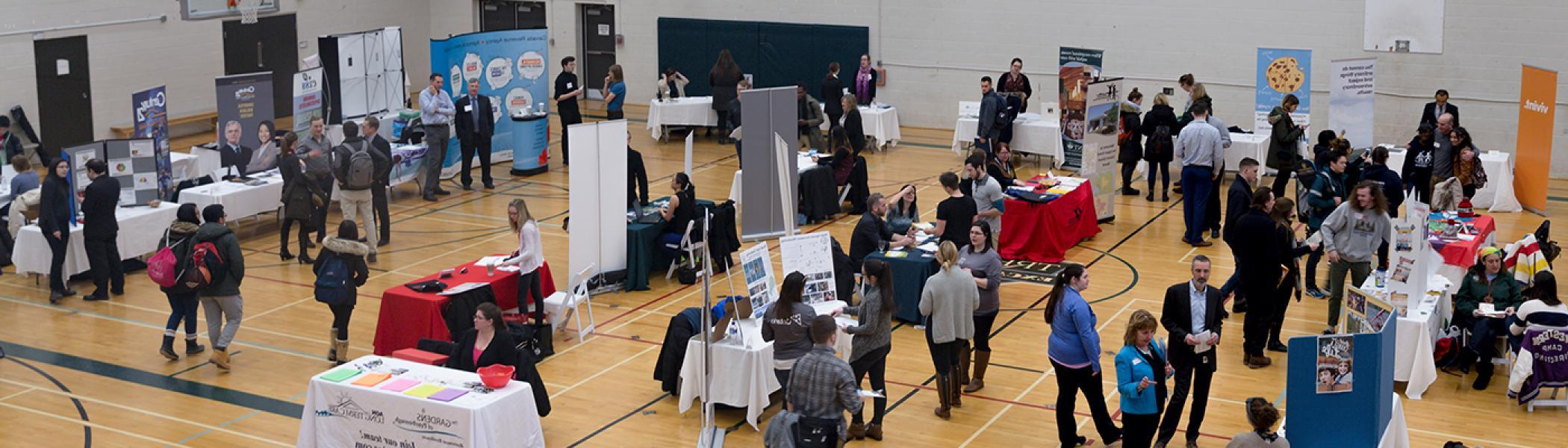 a career fair put on by career services at trent university in the justin chiu athletics centre
