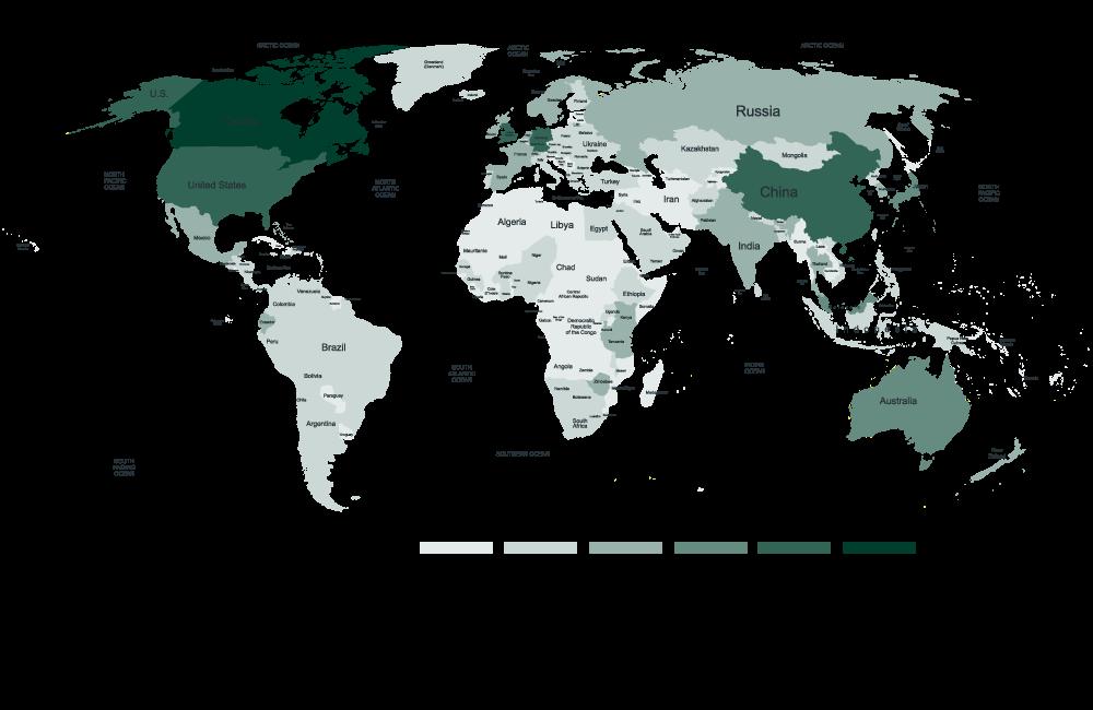 Map of Trent alumni around the world